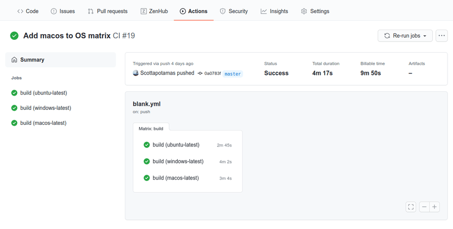 Actions tab on GitHub showing successful build matrix