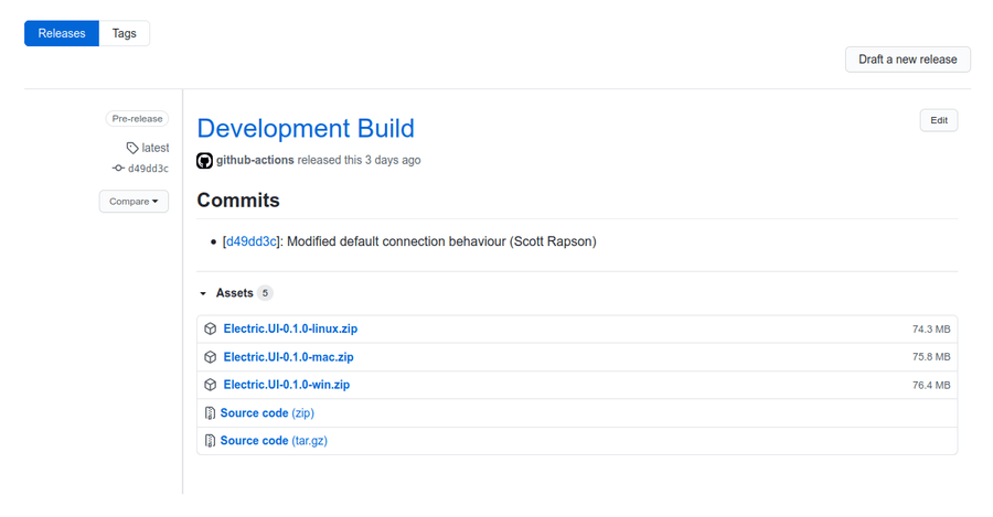 Github releases page shows changelog and downloads